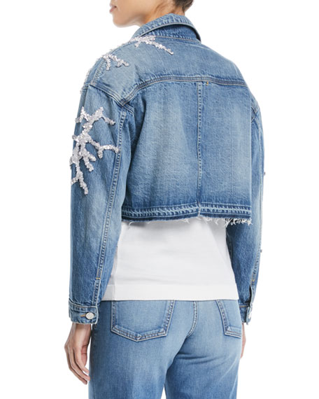 Button-Down Cropped Beaded Coral Denim Jacket