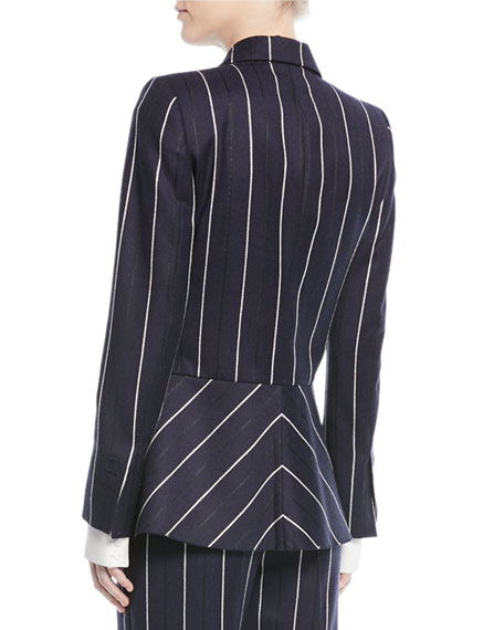 Open-Front Long-Sleeve Pinstripe Wool-Blend Blazer