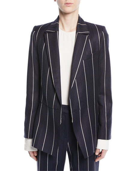 Oscar de la Renta Open-Front Long-Sleeve Pinstripe Wool-Blend