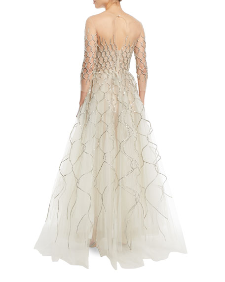 3/4-Sleeve Lamé Embroidered Tulle Evening Gown