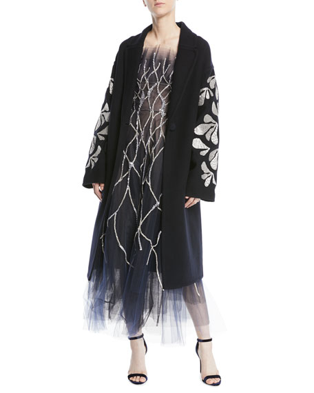 THREAD-WORK SEQUIN EMBROIDERED DOUBLE-BREASTED WOOL COAT