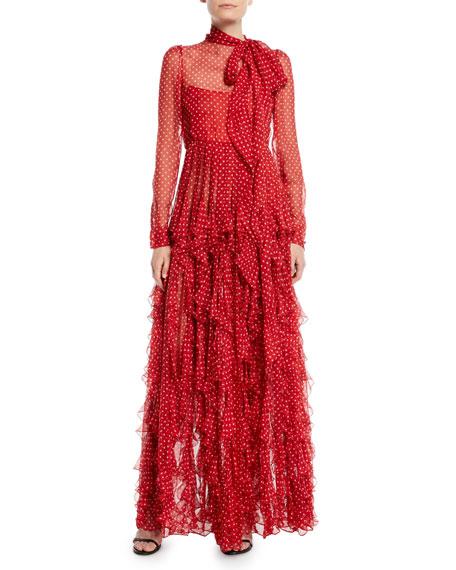 Long-Sleeve Tie-Neck Polka-Dot Ruffled Chiffon Evening Gown