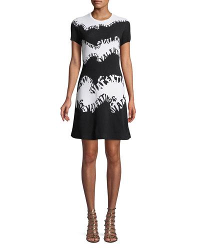 Valentino-Waves Stretch-Viscose Jacquard Short-Sleeve A-Line Knit Dress