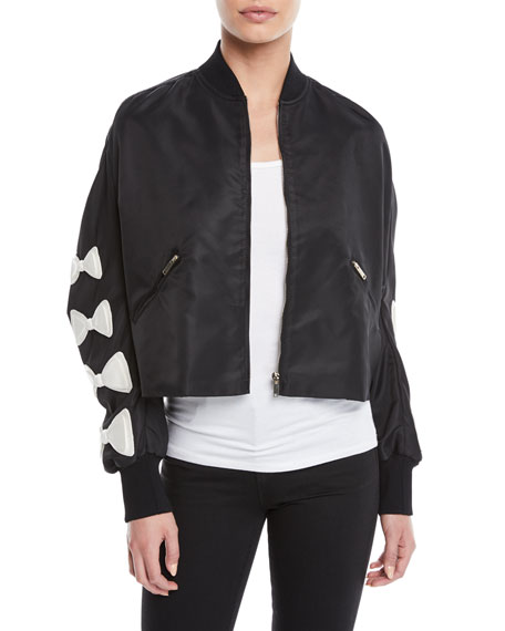 Bow-Sleeve Zip-Front Nylon Cropped Jacket