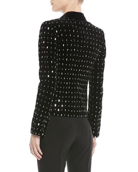 Two-Button Embellished Velvet Tuxedo Jacket