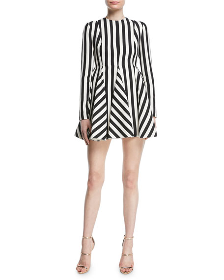 Re-Edition Jewel-Neck Long-Sleeve Striped Fit-and-Flare Dress