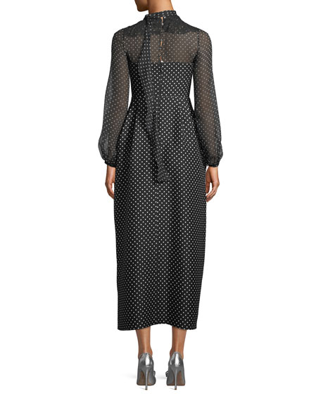 Long-Sleeve Polka-Dot Maxi Dress