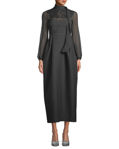 Long-Sleeve Polka-Dot Maxi Dress