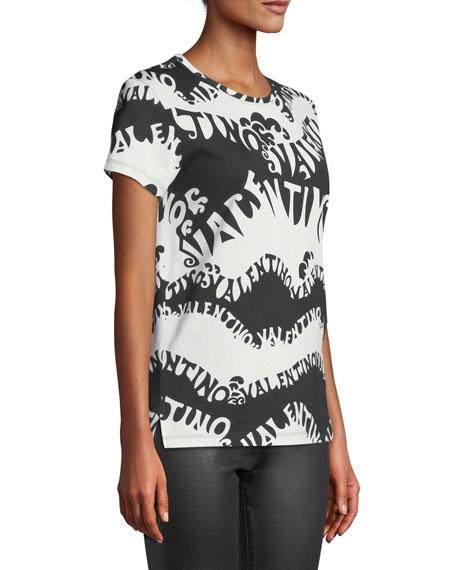 Valentino-Waves Crewneck Short-Sleeve Jersey T-Shirt