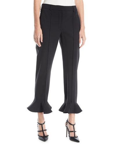 Ruffle-Hem Straight-Leg Stretch-Wool Ankle Pants