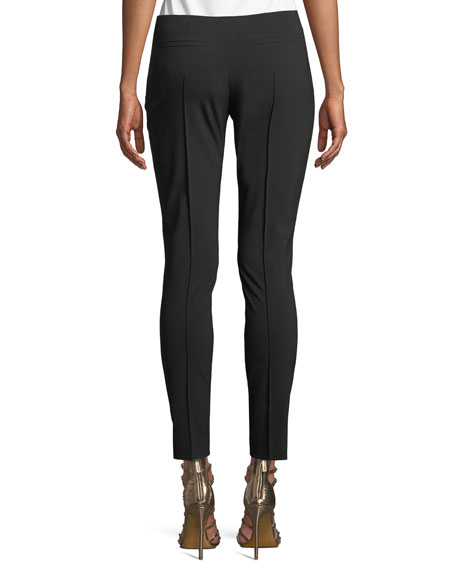 Wool-Stretch Side-Zip Skinny Pants