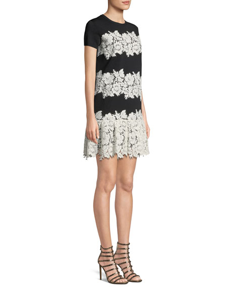 Crewneck Short-Sleeve Lace Stretch-Viscose Short Dress