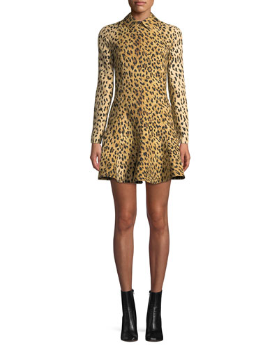 Long-Sleeve Wild Leopard-Print A-Line Mini Dress