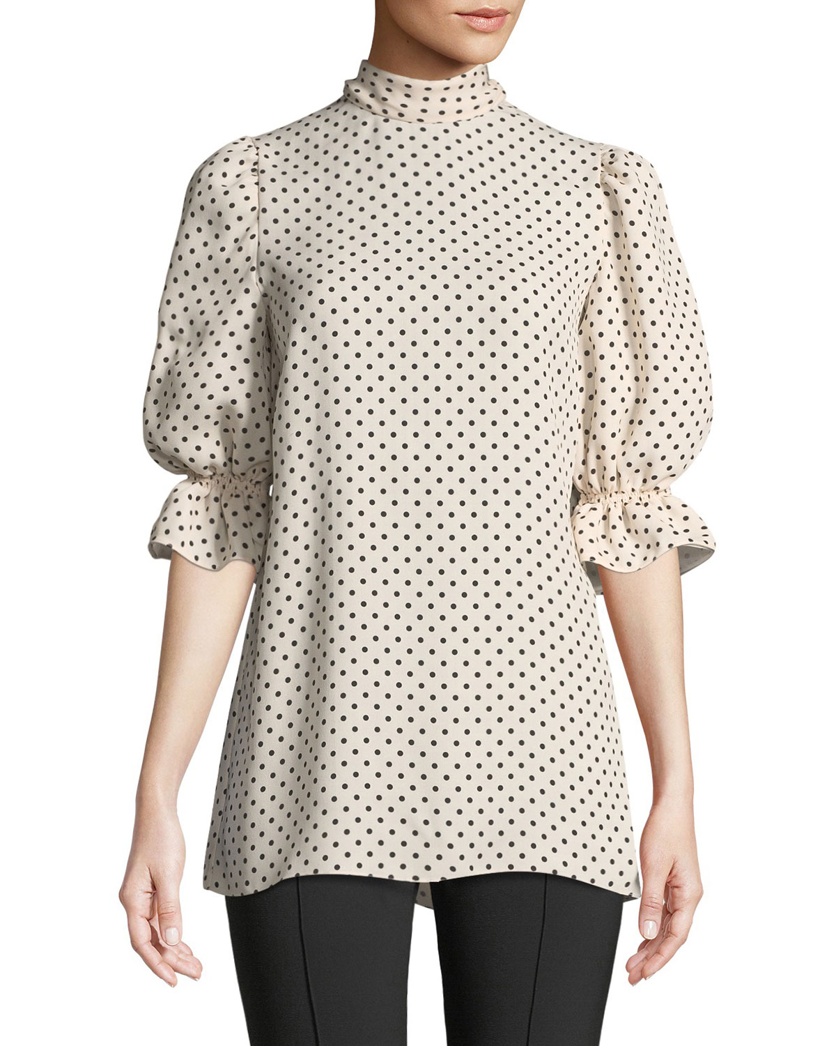7a5c9be0a8b91 Valentino Mock-Neck Elbow-Sleeve Polka-Dot Silk Georgette Blouse ...