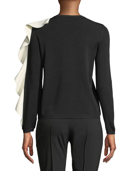 Crewneck Long-Sleeve Sweater w/ Contrast Ruffle
