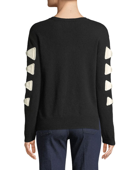 Crewneck Bow Long-Sleeve Wool-Cashmere Sweater