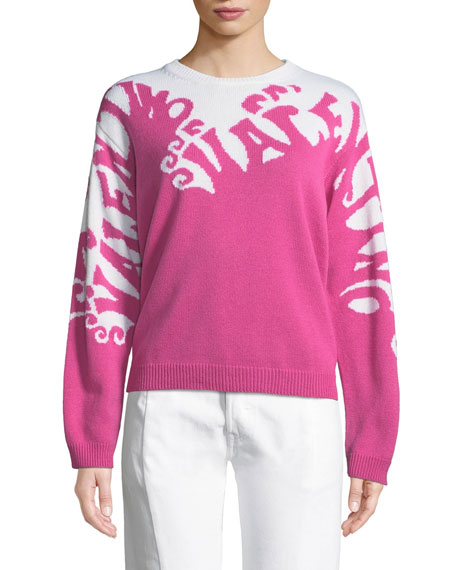 Valentino-Waves Long-Sleeve Cashmere Sweater