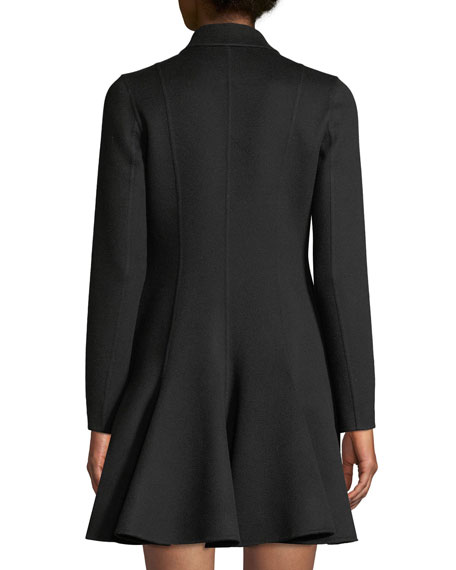 Long-Sleeve Button-Front Flare Wool-Cashmere Coat