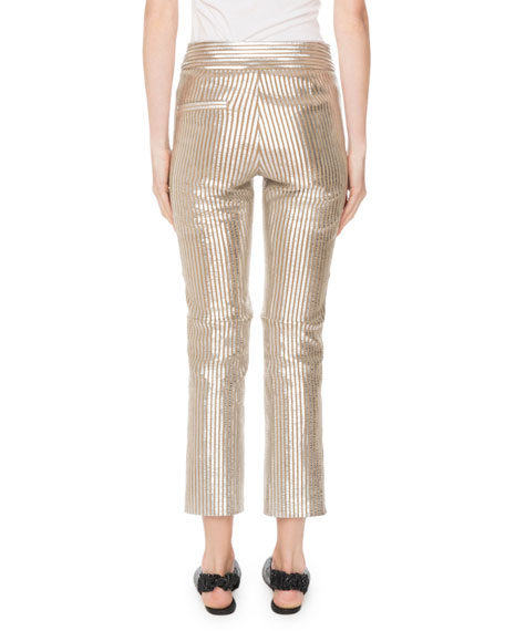 Straight-Leg Striped Metallic Leather Cropped Pants