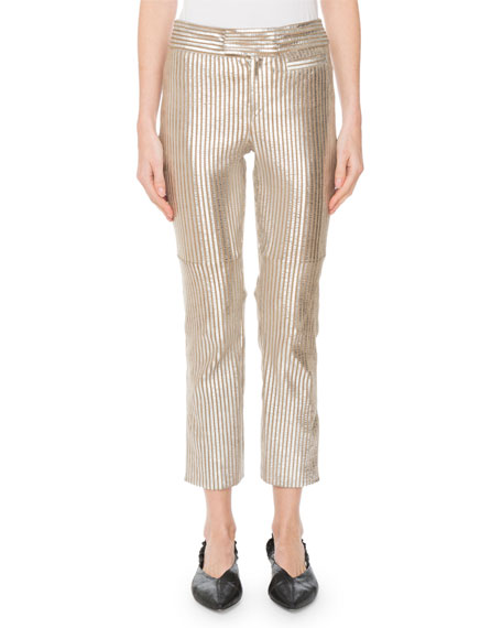 3503d23df55 Isabel Marant Straight-Leg Striped Metallic Leather Cropped Pants In Silver