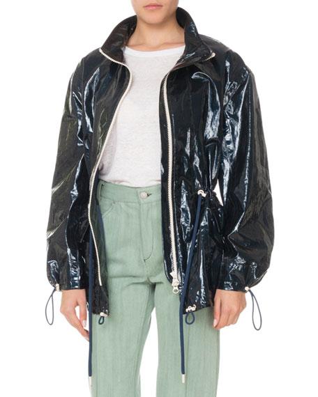 Zip-Front Drawstring-Waist Shiny Rain Coat, Black