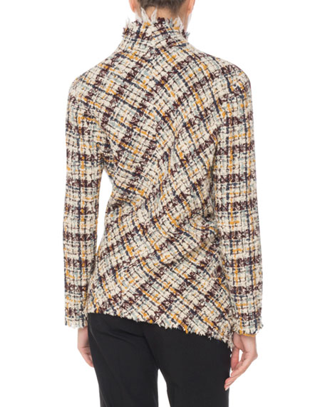 Asymmetric One-Button Multi-Tweed Jacket