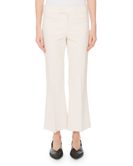 Mid-Rise Flared Stretch-Cotton Cropped Pants