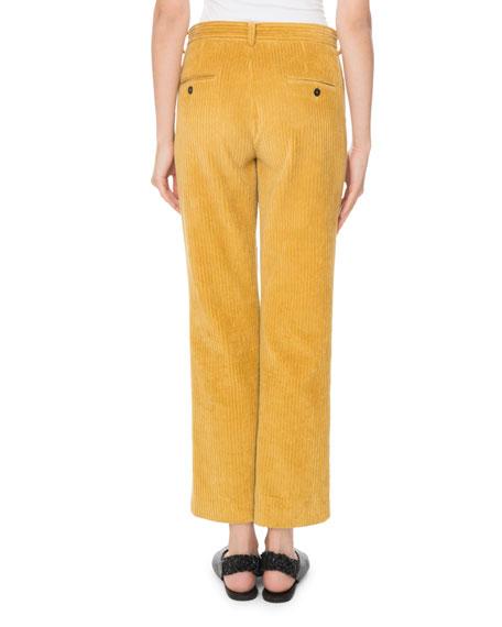 Mid-Rise Corded Velvet Straight-Leg Pants
