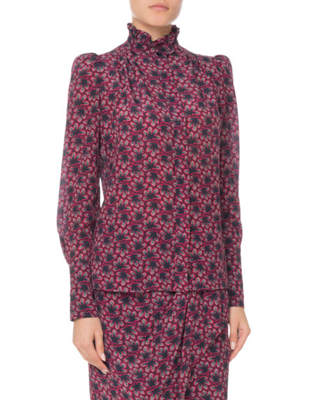 Isabel Marant Turtleneck Long-Sleeve Floral-Print Silk Blouse