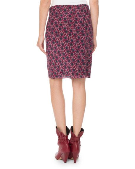Floral-Print Draped Silk Skirt