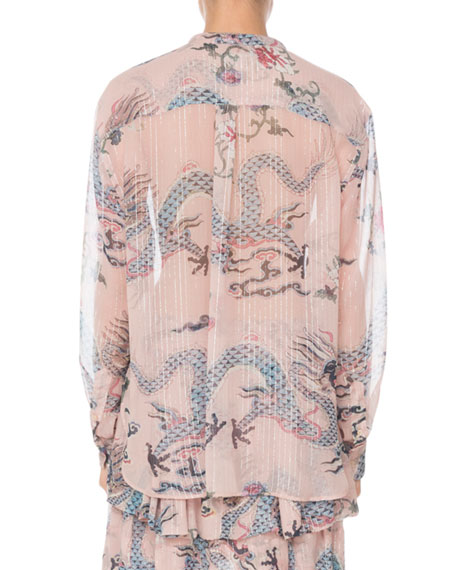 Long-Sleeve Button-Front Dragon-Print Silk Blouse