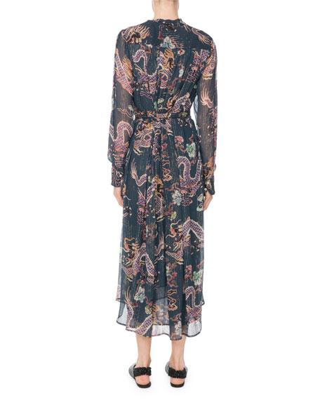 Long-Sleeve Dragon-Print Metallic-Silk Midi Dress