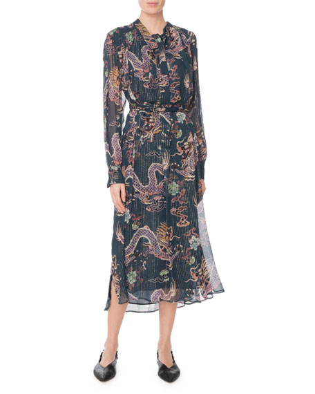 Isabel Marant Long-Sleeve Dragon-Print Metallic-Silk Midi Dress