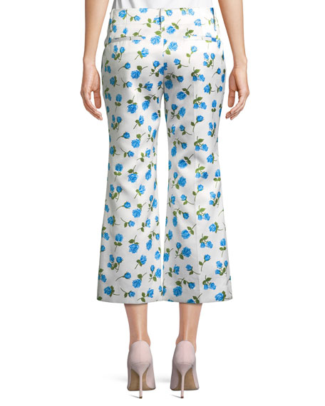Scattered Rose-Print Flared-Leg Duchess Satin Crop Pants