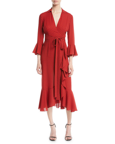 Ruffled Polka-Dot Silk-Georgette Wrap Dress in Red
