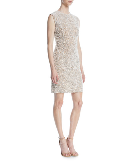 Sleeveless Stretch-Tulle Crystal-Embroidered Cocktail Dress