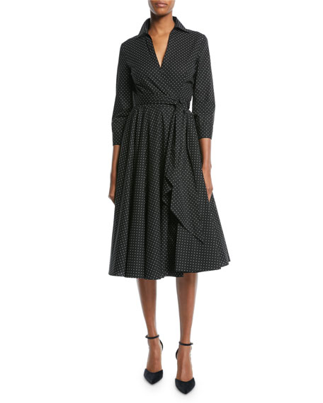 MICHAEL KORS Pleated Polka-Dot Cotton-Blend Poplin Dress in Black