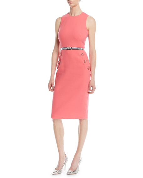 Michael Kors Sleeveless Stretch-Boucle Crepe Sheath Dress w/