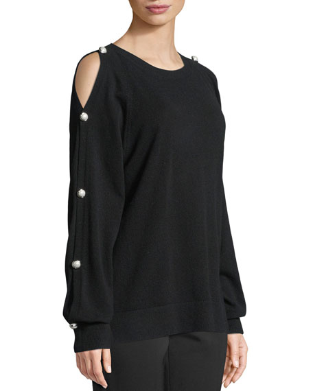 Cold-Shoulder Cashmere Pullover with Pearlescent Buttons