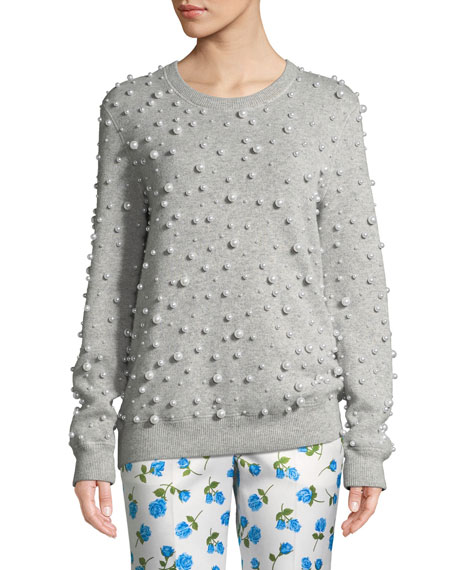 Crewneck Pearlescent-Embellished Cashmere Sweater