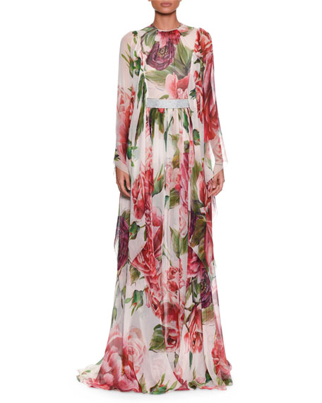 Dolce & Gabbana Long-Sleeve Rose & Peony-Print Silk