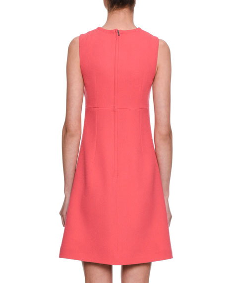 Sleeveless A-Line Crepe Wool Day Dress