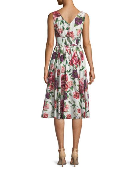Sleeveless V-Neck Smocked-Waist Rose-Print Cotton Poplin Dress