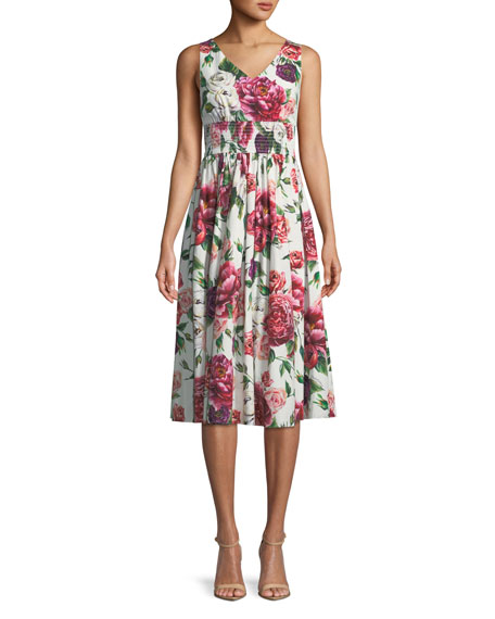 Sleeveless V-Neck Smocked-Waist Rose-Print Cotton Poplin Dress