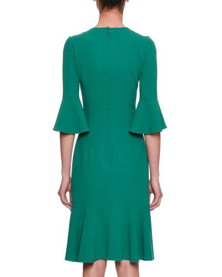 Elbow-Sleeve Crepe Knee-Length Sheath Dress w/ Flounce Hem