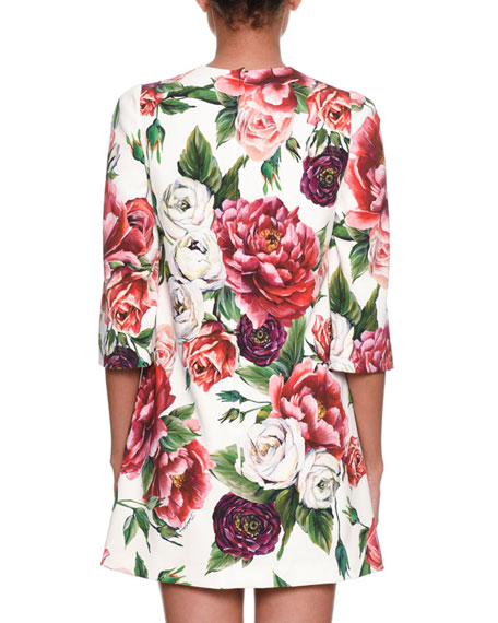 3/4-Sleeve Rose & Peony-Print Wool Crepe Knee-Length Dress