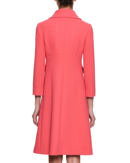Single-Breasted Crepe Wool Coat w/ Rose Appliques