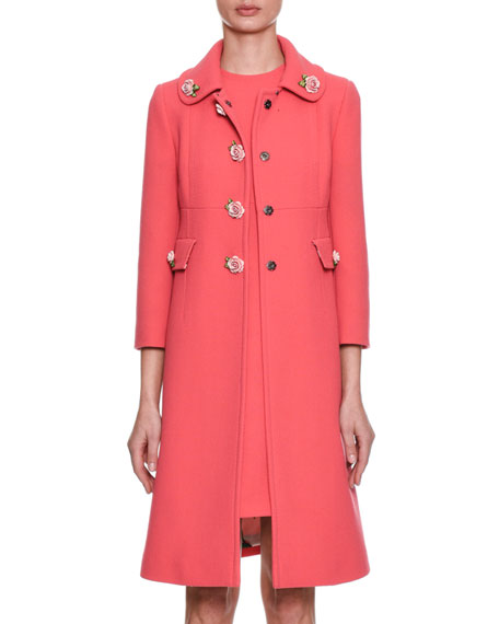 Single-Breasted Crepe Wool Coat w/ Rose Appliqués