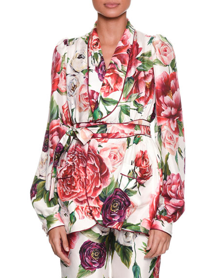 Long-Sleeve Rose Peony Belted Silk Pajama Top in Ivory