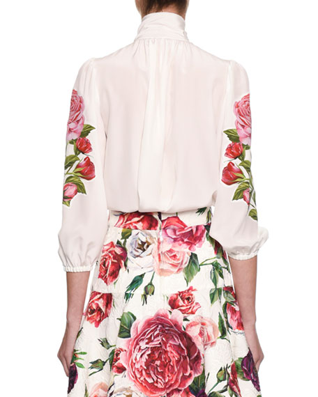 Tie-Neck 3/4 Sleeve Crepe de Chine Blouse w/ Floral Appliqué
